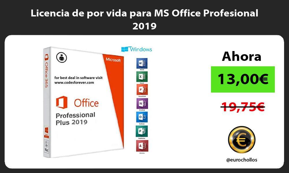 Licencia de por vida para MS Office Profesional 2019
