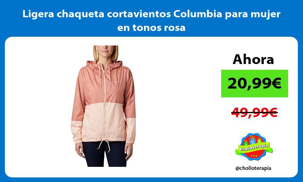 Ligera chaqueta cortavientos Columbia para mujer en tonos rosa