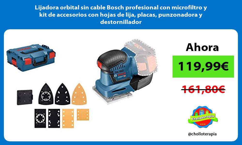 Lijadora orbital sin cable Bosch profesional con microfiltro y kit de accesorios con hojas de lija placas punzonadora y destornillador