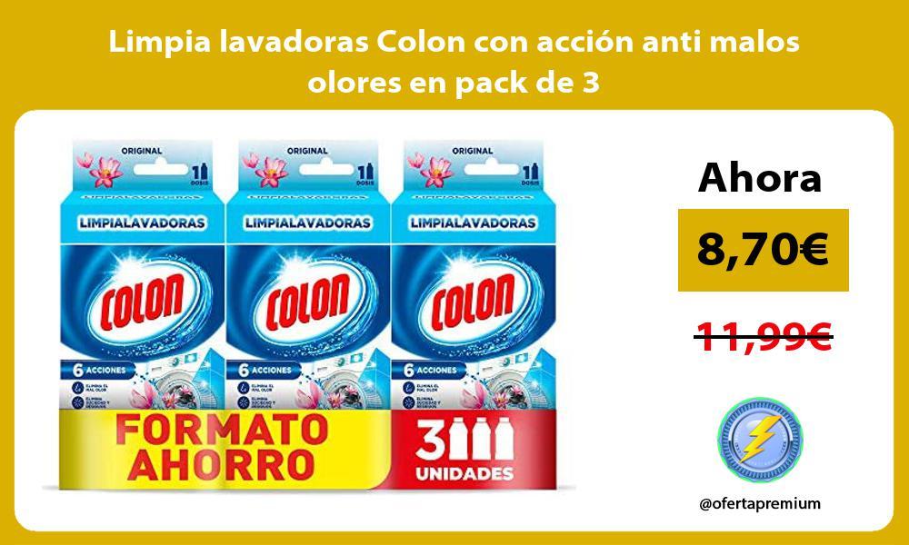 Limpia lavadoras Colon con acción anti malos olores en pack de 3