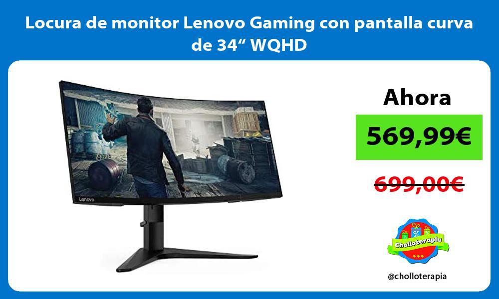 """Locura de monitor Lenovo Gaming con pantalla curva de 34"""" WQHD"""