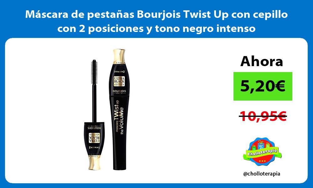 Máscara de pestañas Bourjois Twist Up con cepillo con 2 posiciones y tono negro intenso