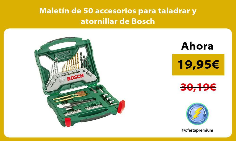 Maletín de 50 accesorios para taladrar y atornillar de Bosch