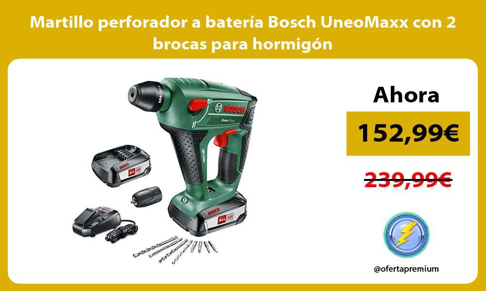 Martillo perforador a batería Bosch UneoMaxx con 2 brocas para hormigón