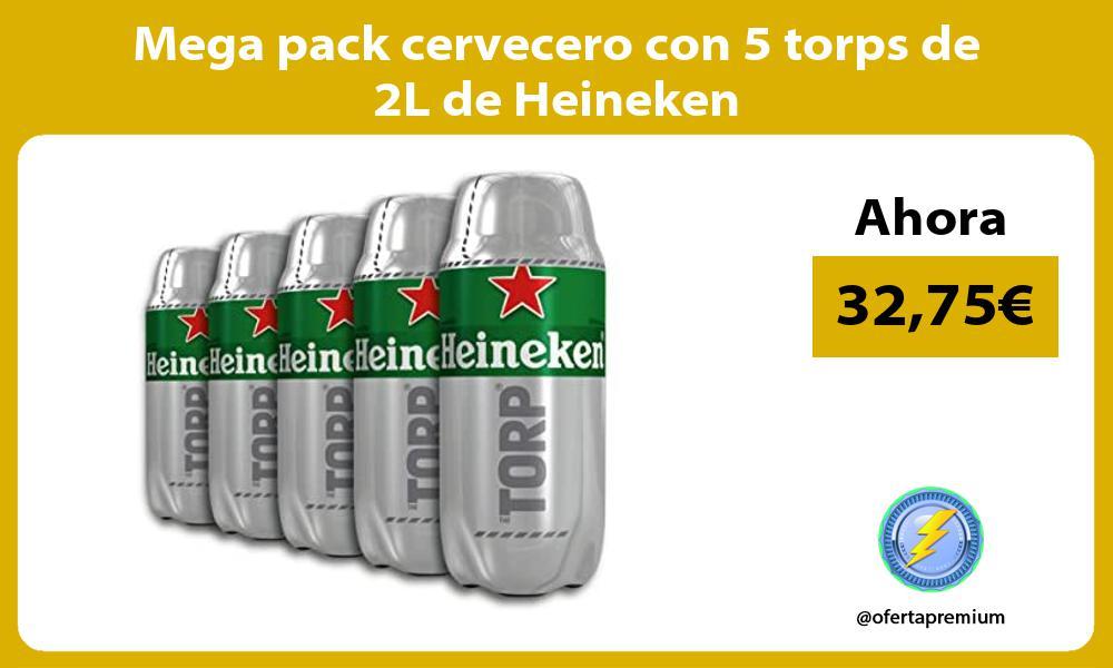 Mega pack cervecero con 5 torps de 2L de Heineken
