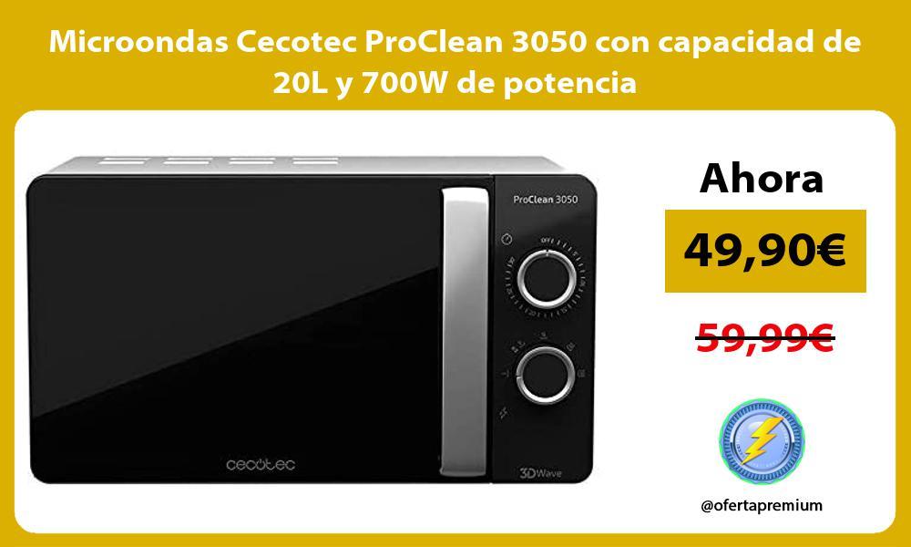 Microondas Cecotec ProClean 3050 con capacidad de 20L y 700W de potencia