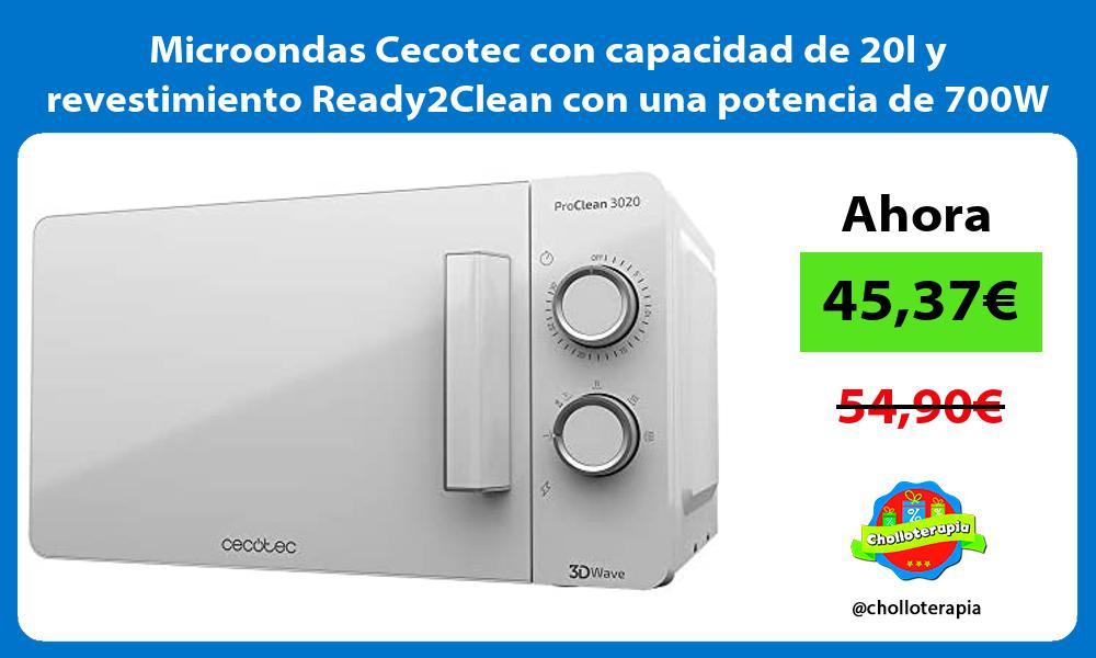 Microondas Cecotec con capacidad de 20l y revestimiento Ready2Clean con una potencia de 700W