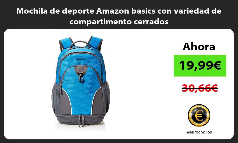 Mochila de deporte Amazon basics con variedad de compartimento cerrados