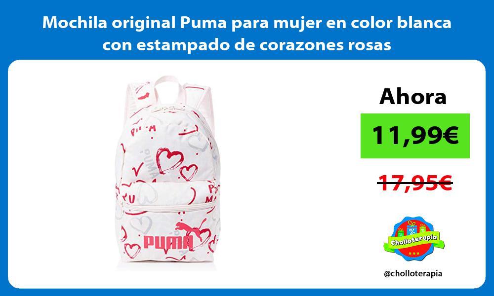 Mochila original Puma para mujer en color blanca con estampado de corazones rosas
