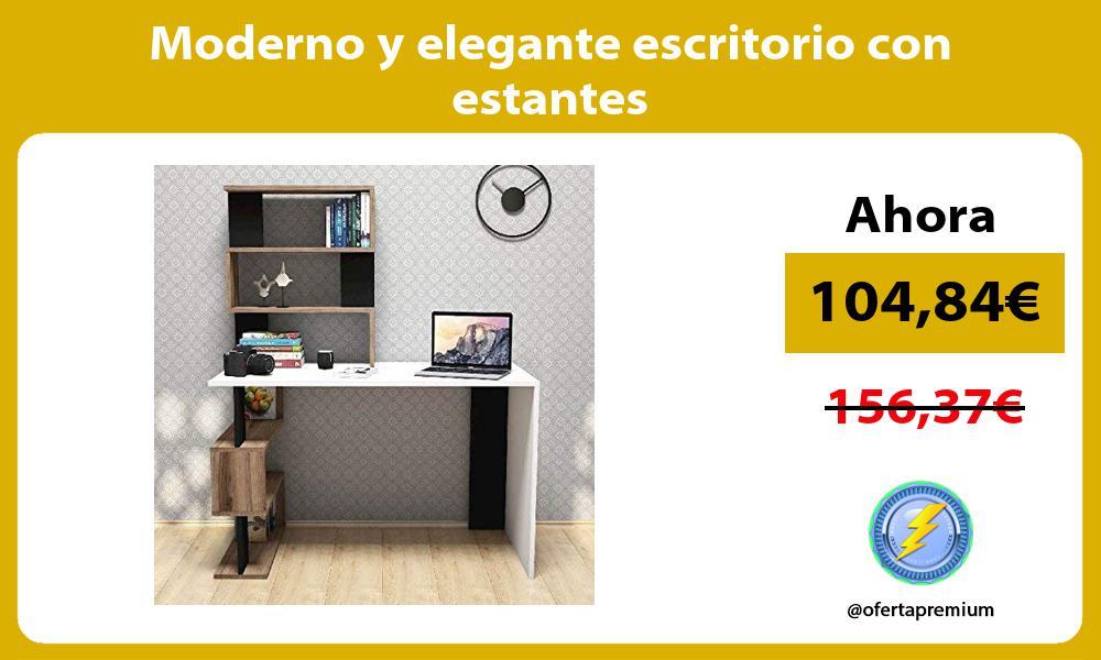 Moderno y elegante escritorio con estantes