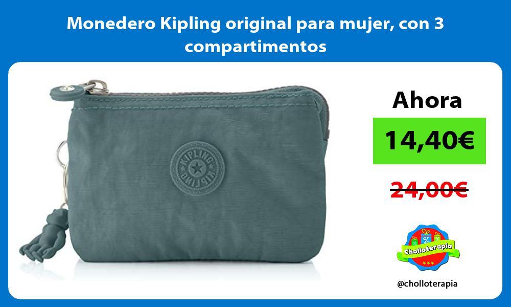 Monedero Kipling original para mujer con 3 compartimentos