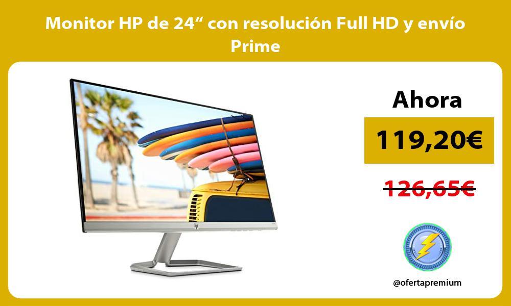 """Monitor HP de 24"""" con resolución Full HD y envío Prime"""