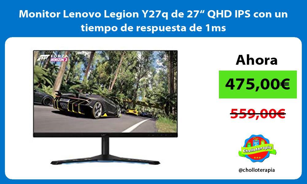"""Monitor Lenovo Legion Y27q de 27"""" QHD IPS con un tiempo de respuesta de 1ms"""