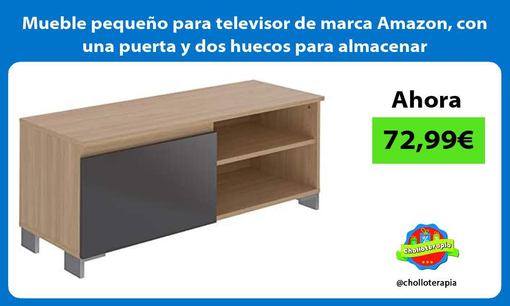 Mueble pequeño para televisor de marca Amazon con una puerta y dos huecos para almacenar