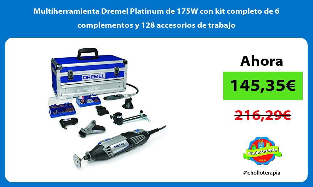 Multiherramienta Dremel Platinum de 175W con kit completo de 6 complementos y 128 accesorios de trabajo