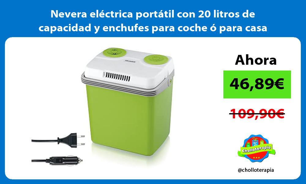 Nevera eléctrica portátil con 20 litros de capacidad y enchufes para coche ó para casa