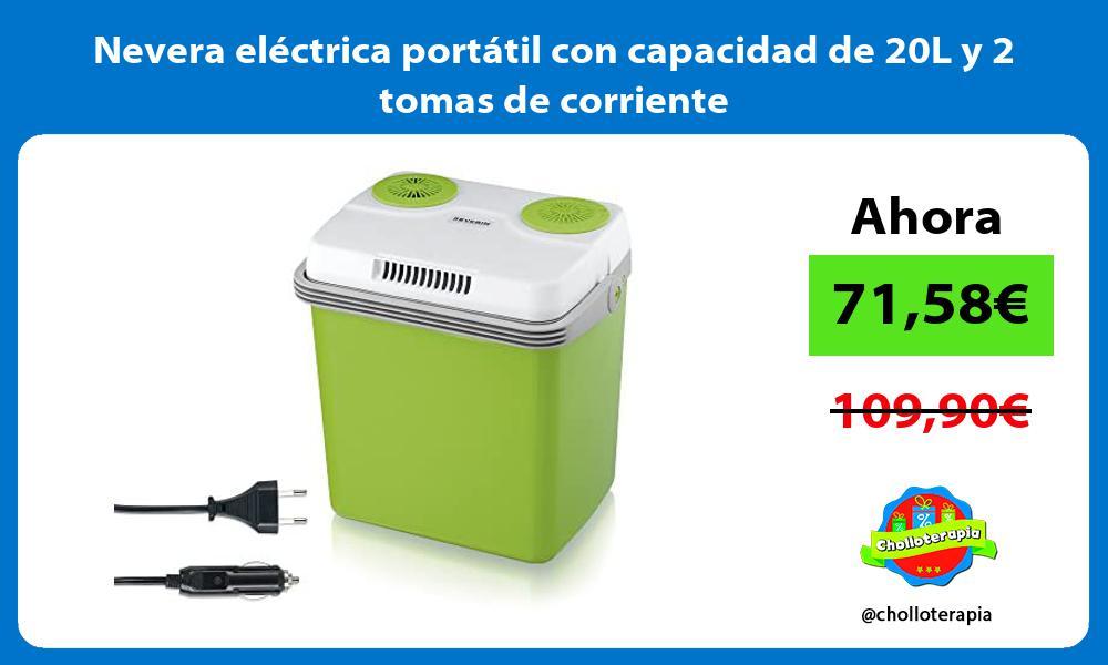 Nevera eléctrica portátil con capacidad de 20L y 2 tomas de corriente