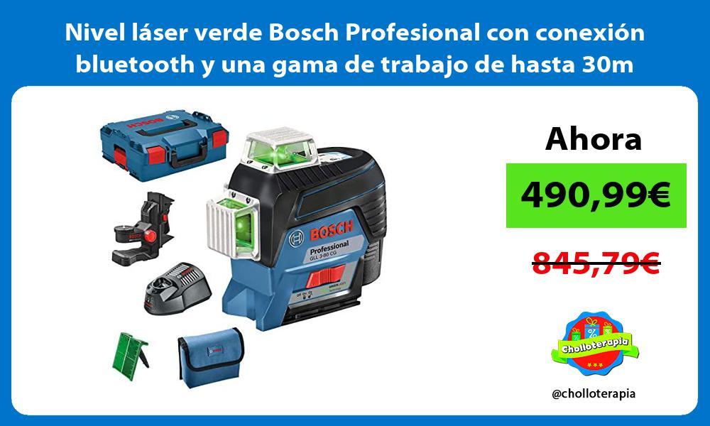 Nivel láser verde Bosch Profesional con conexión bluetooth y una gama de trabajo de hasta 30m