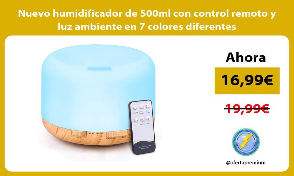 Nuevo humidificador de 500ml con control remoto y luz ambiente en 7 colores diferentes