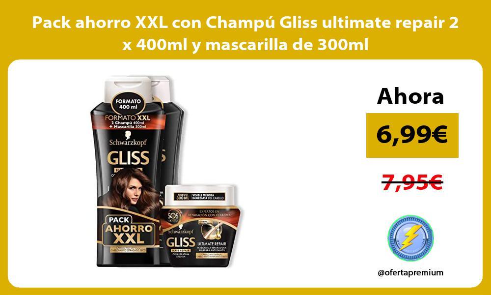 Pack ahorro XXL con Champú Gliss ultimate repair 2 x 400ml y mascarilla de 300ml