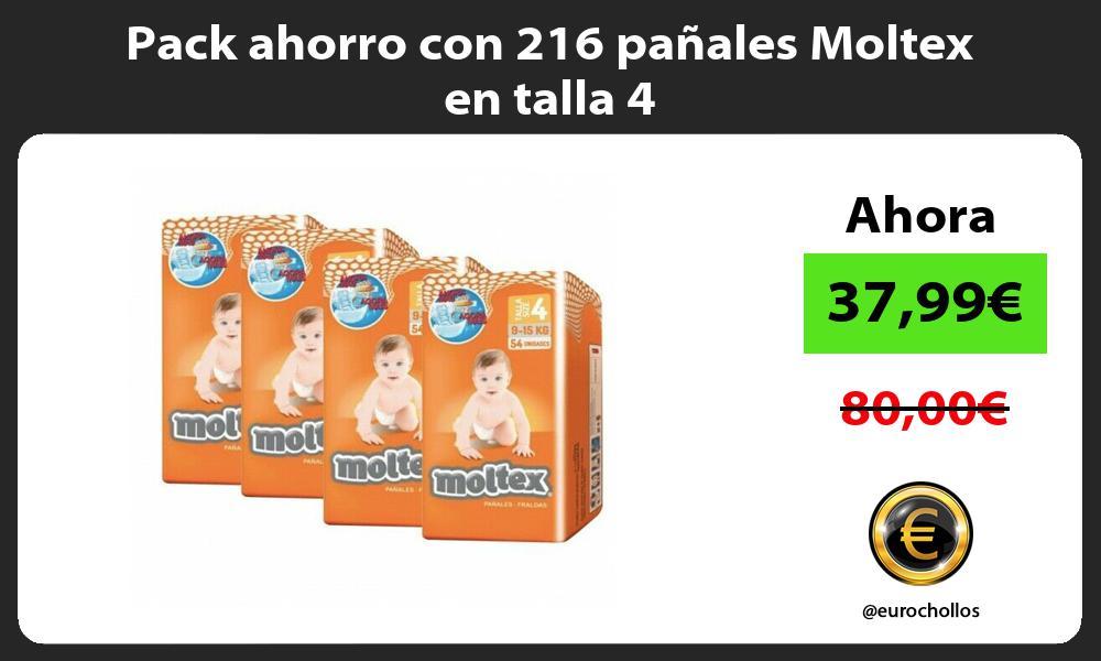 Pack ahorro con 216 pañales Moltex en talla 4