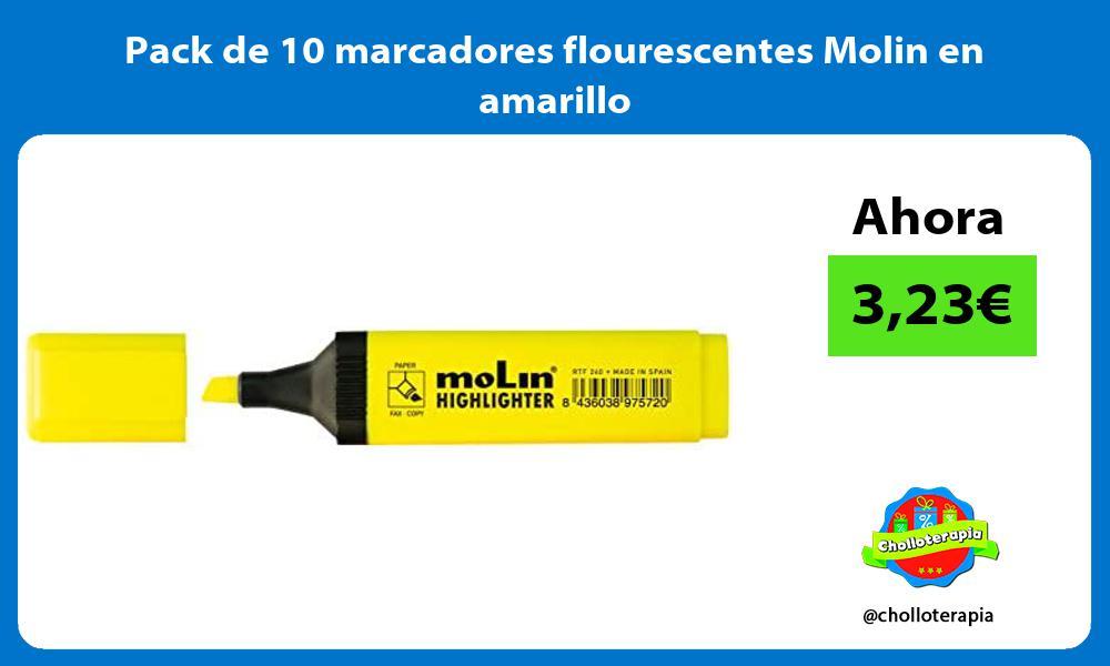 Pack de 10 marcadores flourescentes Molin en amarillo