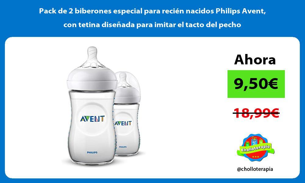 Pack de 2 biberones especial para recién nacidos Philips Avent con tetina diseñada para imitar el tacto del pecho