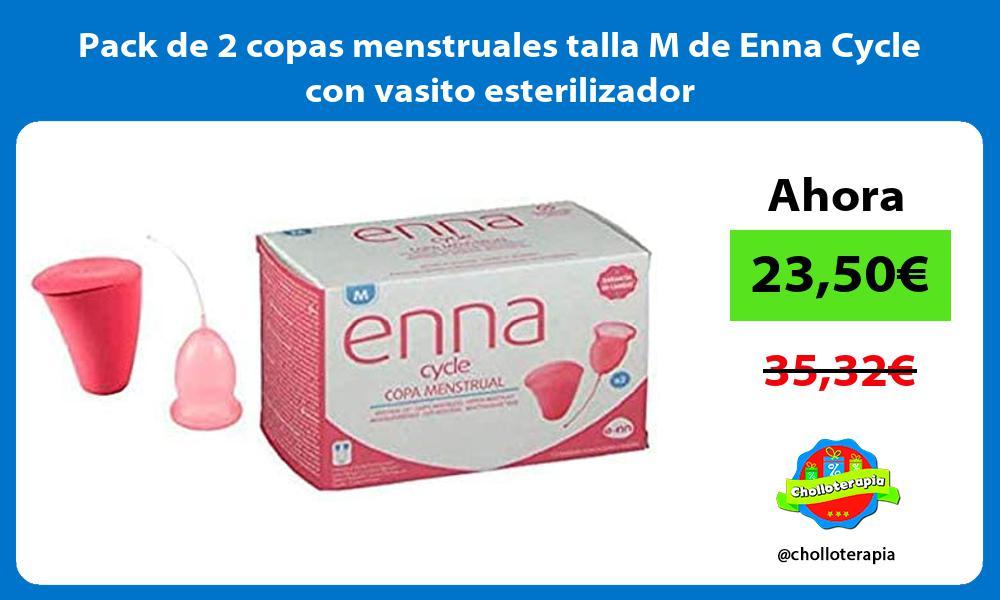 Pack de 2 copas menstruales talla M de Enna Cycle con vasito esterilizador
