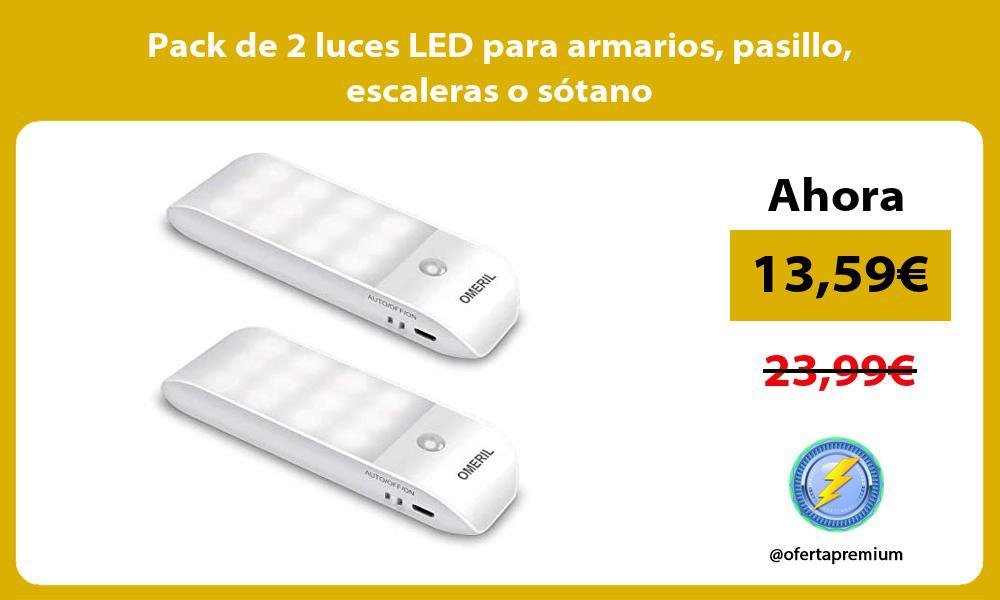 Pack de 2 luces LED para armarios pasillo escaleras o sótano
