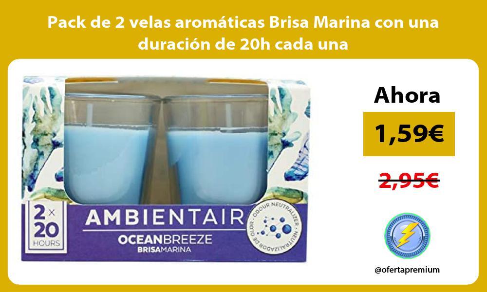 Pack de 2 velas aromáticas Brisa Marina con una duración de 20h cada una