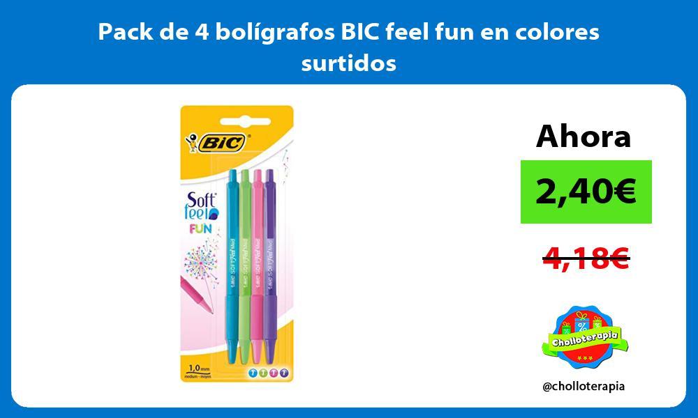 Pack de 4 bolígrafos BIC feel fun en colores surtidos