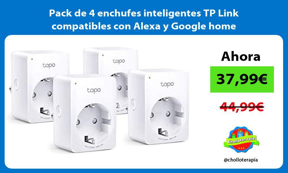 Pack de 4 enchufes inteligentes TP Link compatibles con Alexa y Google home