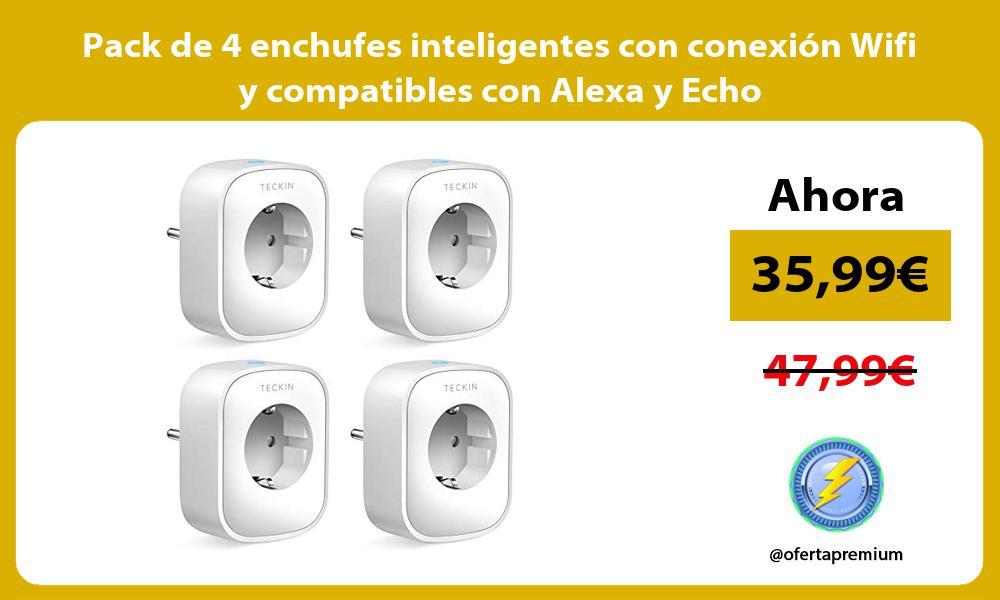 Pack de 4 enchufes inteligentes con conexión Wifi y compatibles con Alexa y Echo