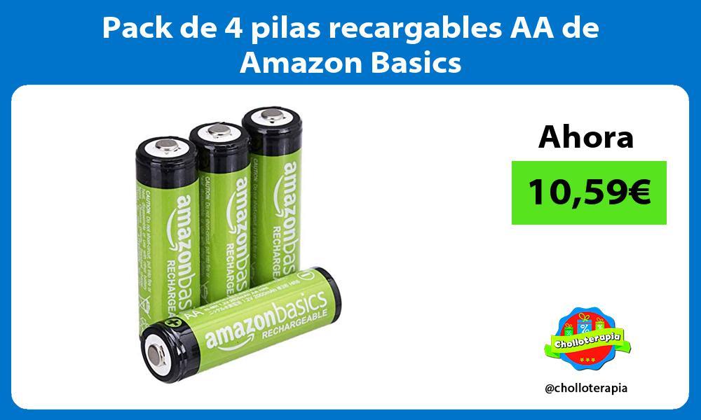 Pack de 4 pilas recargables AA de Amazon Basics