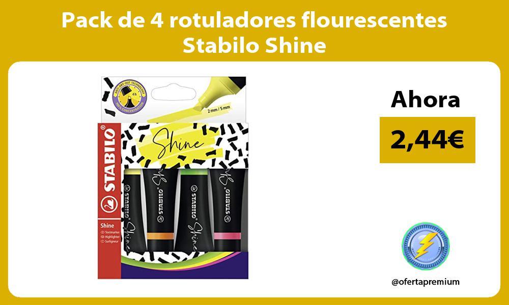 Pack de 4 rotuladores flourescentes Stabilo Shine