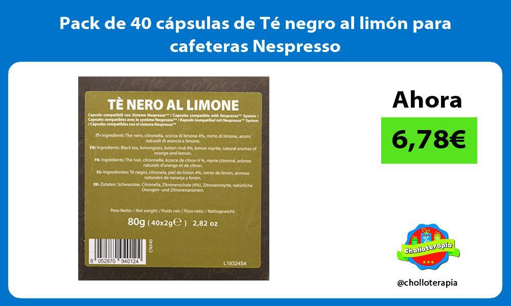 Pack de 40 cápsulas de Té negro al limón para cafeteras Nespresso