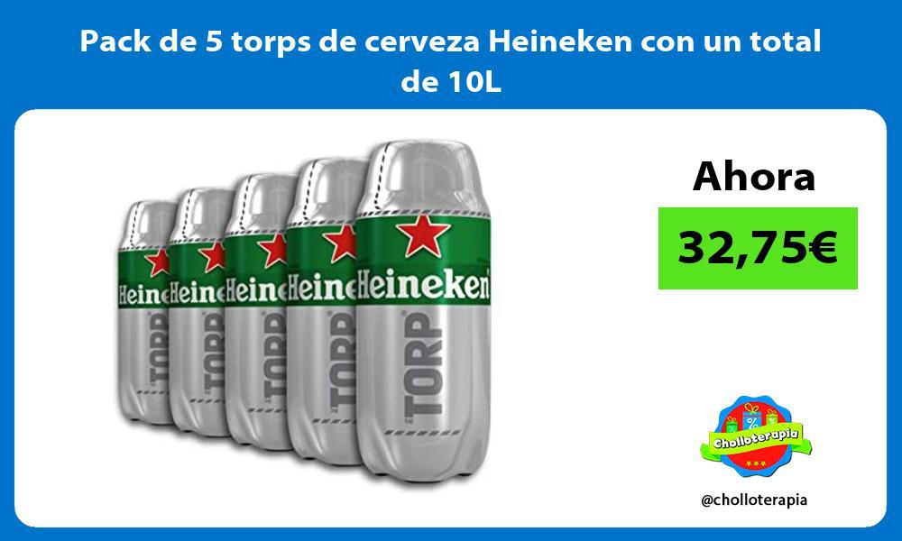 Pack de 5 torps de cerveza Heineken con un total de 10L
