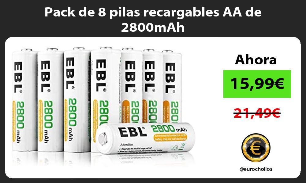 Pack de 8 pilas recargables AA de 2800mAh