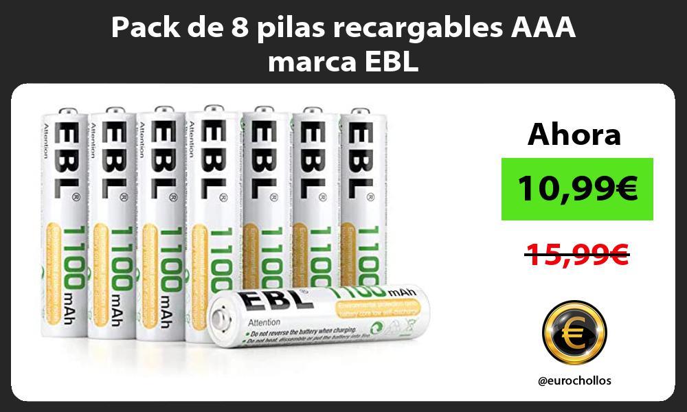 Pack de 8 pilas recargables AAA marca EBL