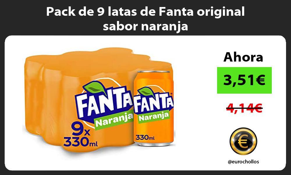 Pack de 9 latas de Fanta original sabor naranja