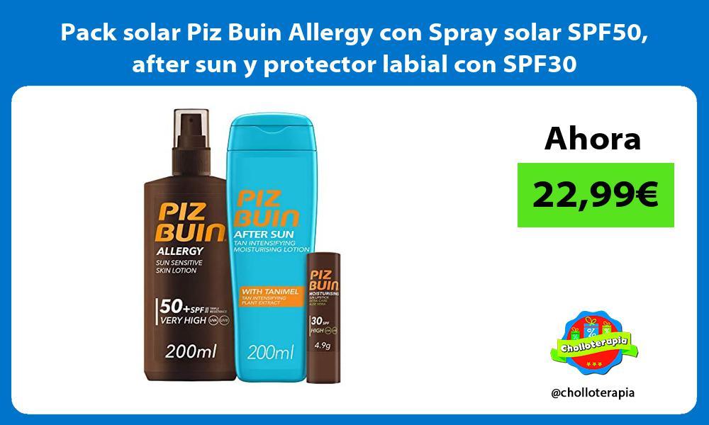 Pack solar Piz Buin Allergy con Spray solar SPF50 after sun y protector labial con SPF30