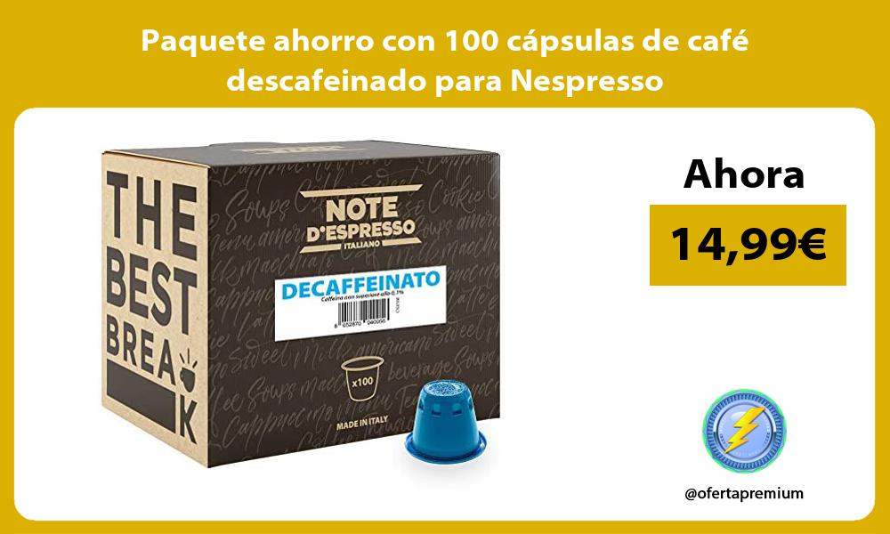 Paquete ahorro con 100 cápsulas de café descafeinado para Nespresso