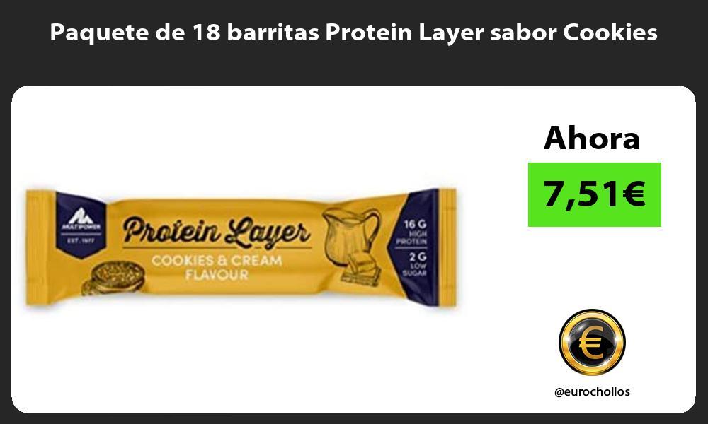 Paquete de 18 barritas Protein Layer sabor Cookies