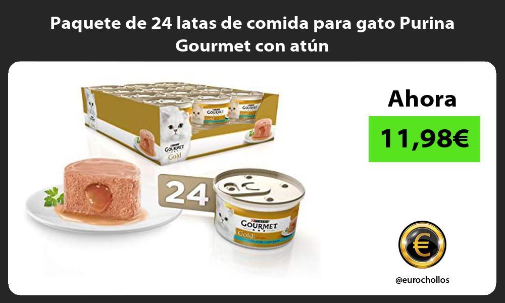 Paquete de 24 latas de comida para gato Purina Gourmet con atún