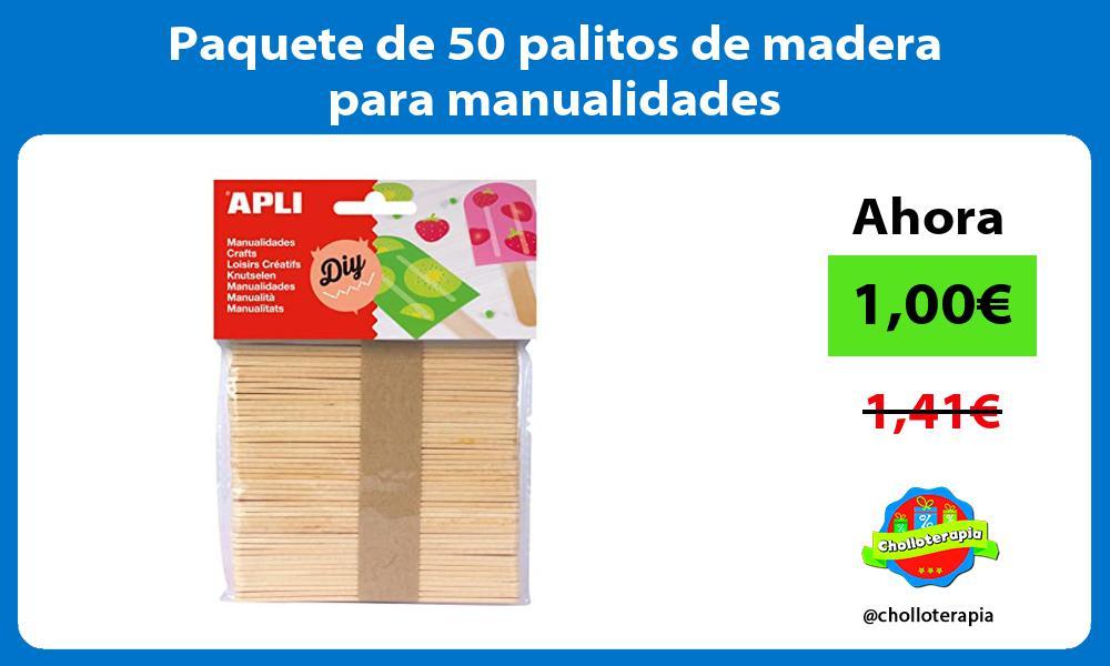 Paquete de 50 palitos de madera para manualidades