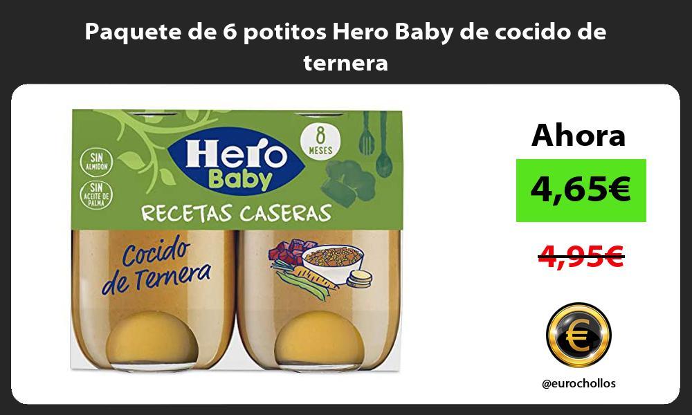 Paquete de 6 potitos Hero Baby de cocido de ternera