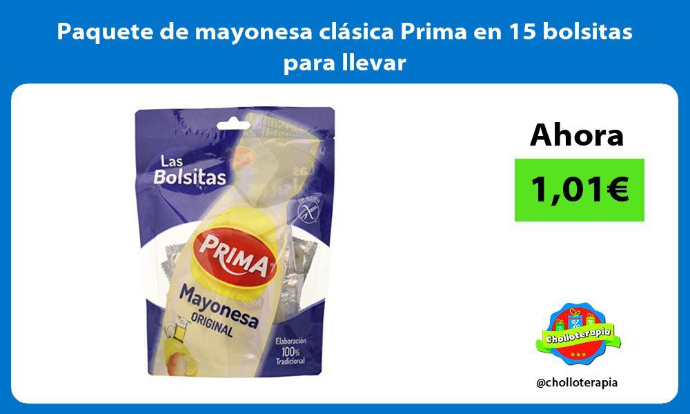 Paquete de mayonesa clásica Prima en 15 bolsitas para llevar