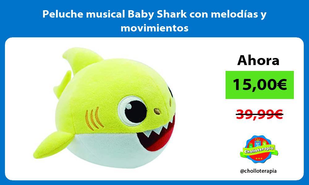 Peluche musical Baby Shark con melodías y movimientos
