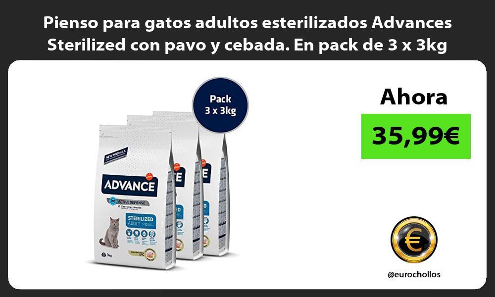 Pienso para gatos adultos esterilizados Advances Sterilized con pavo y cebada En pack de 3 x 3kg