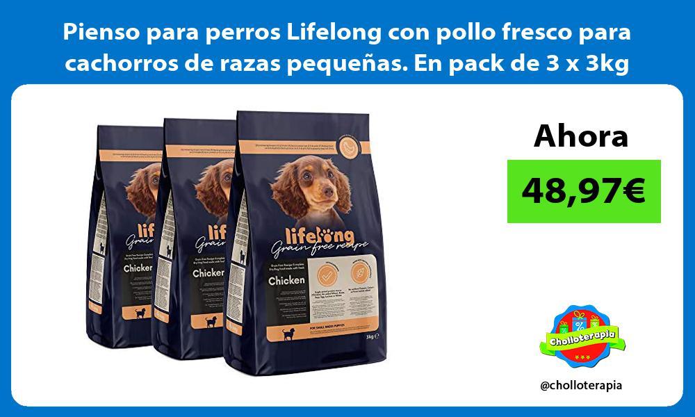 Pienso para perros Lifelong con pollo fresco para cachorros de razas pequeñas En pack de 3 x 3kg